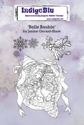 Bells Bauble A6 Red Rubber Stamp by Janine Gerard-Shaw
